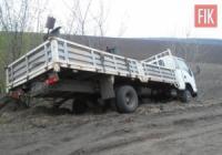 На Кіровоградщині рятувальники допомогли вантажному автомобілю вибратись із кювету