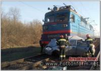 На Кіровоградщині сталося зіткнення електропотяга з автомобілем