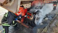 На Кровоградщині у вантажівки загорілися колеса