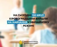 На сьогодні 150 шкіл Кіровоградщини вийшли на навчання у звичайному режимі