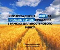 Кіровоградщина - лідер за площею земель,  проданих в рамках діяльності нового ринку